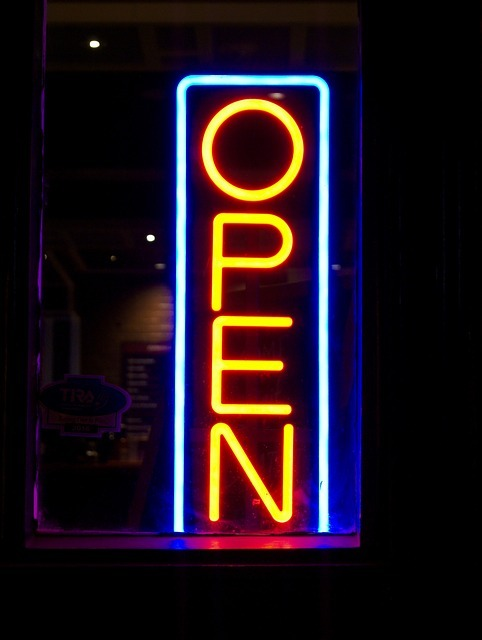 open, neon sign, lights