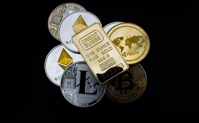cryptocurrency, gold bar, concept